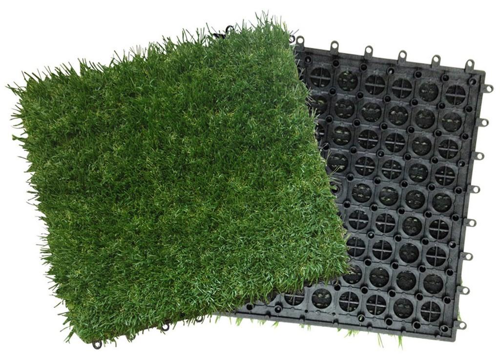 Pavimento a piastrelle con moquette prato conf. pz. 10 su supporto