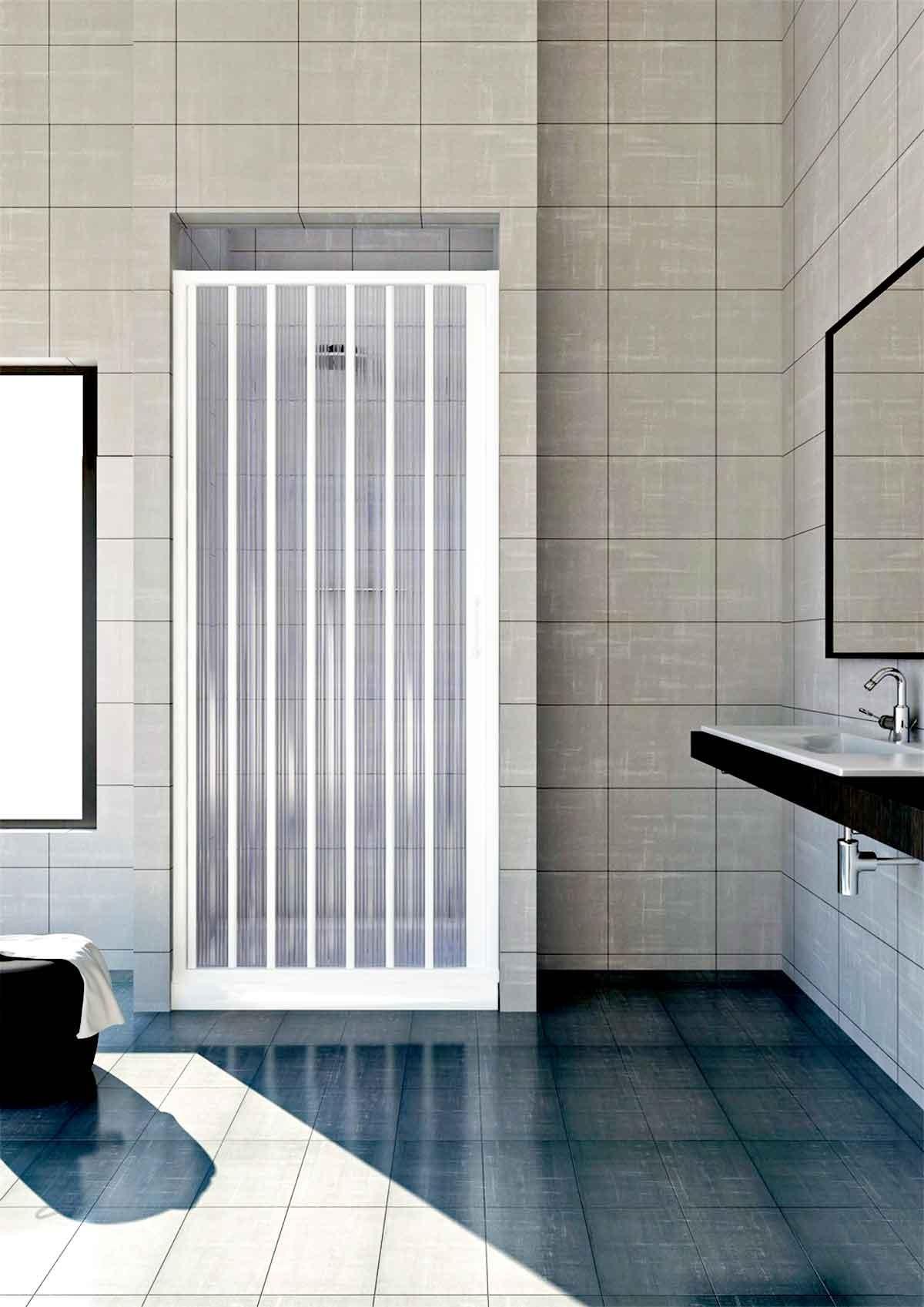 Porta a soffietto in pvc per doccia ad estensione regolabile cm 80 110 box arredo bagno - Cabine doccia a soffietto ...
