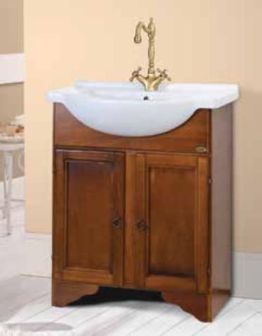 Mobile bagno in legno finitura arte povera completo di lavabo serie ...