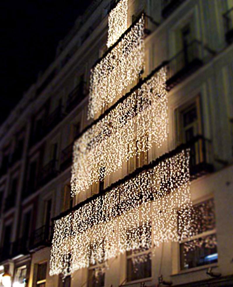 Tende Luminose Da Esterno.Tenda Luminosa 160 Luci Led Bianco Con Controller E 8 Giochi Di Luce Per Uso Interno Ed Esterno Luci Albero Decori Natale
