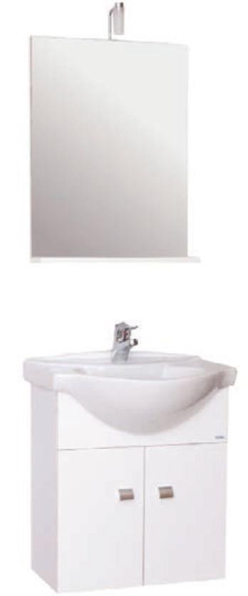 Mobile bagno bianco sospeso completo di specchio e lavabo - Mobile bagno completo ...