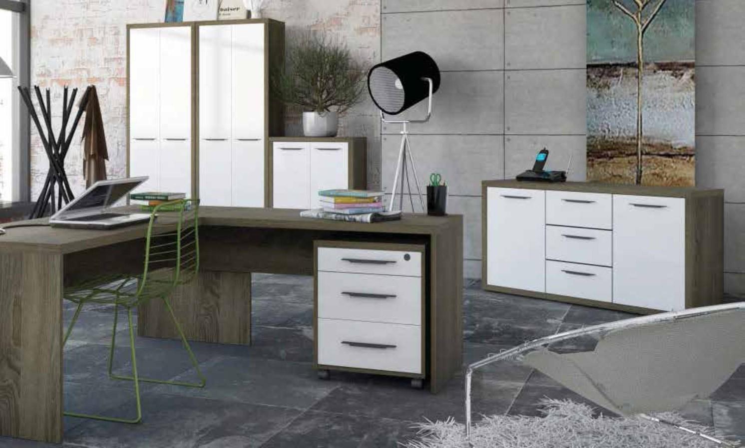 Libreria 6 vani composad rovere tartufo e laccato bianco for Arredo ufficio bianco