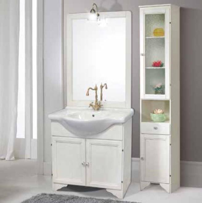 Mobile Bagno Completo Lavabo.Mobile Bagno In Legno Finitura Bianco Decape Completo Di Specchio E
