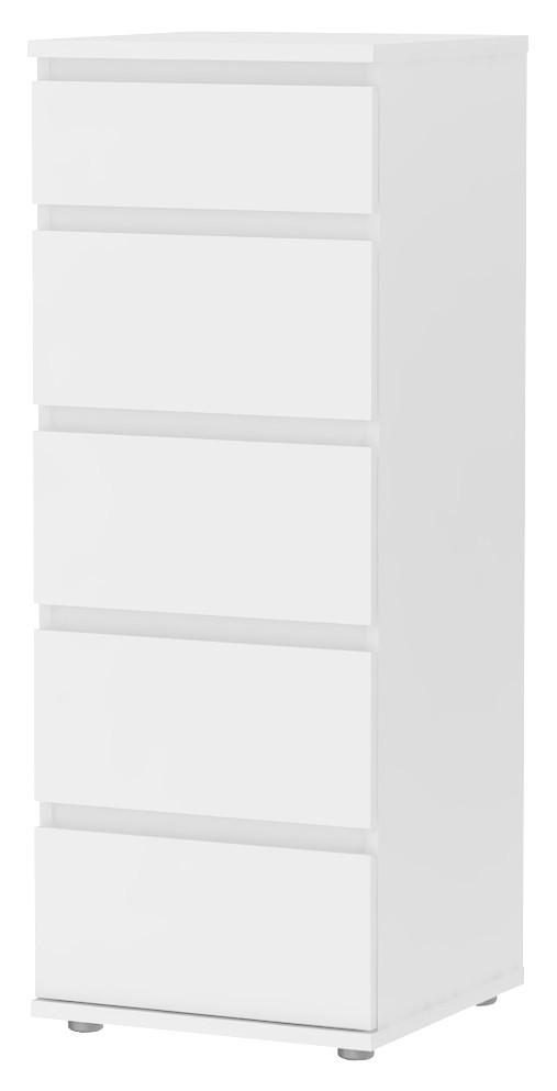 Cassettiera moderna laccata bianca 5 cassetti cm 40X40X107h Mod NOVA