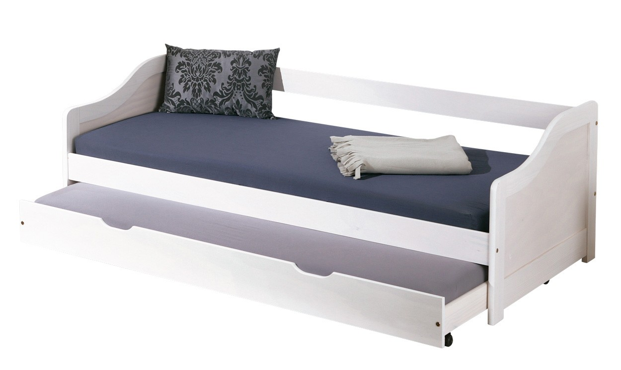 Letto struttura legno massello colore bianco secondo letto ...