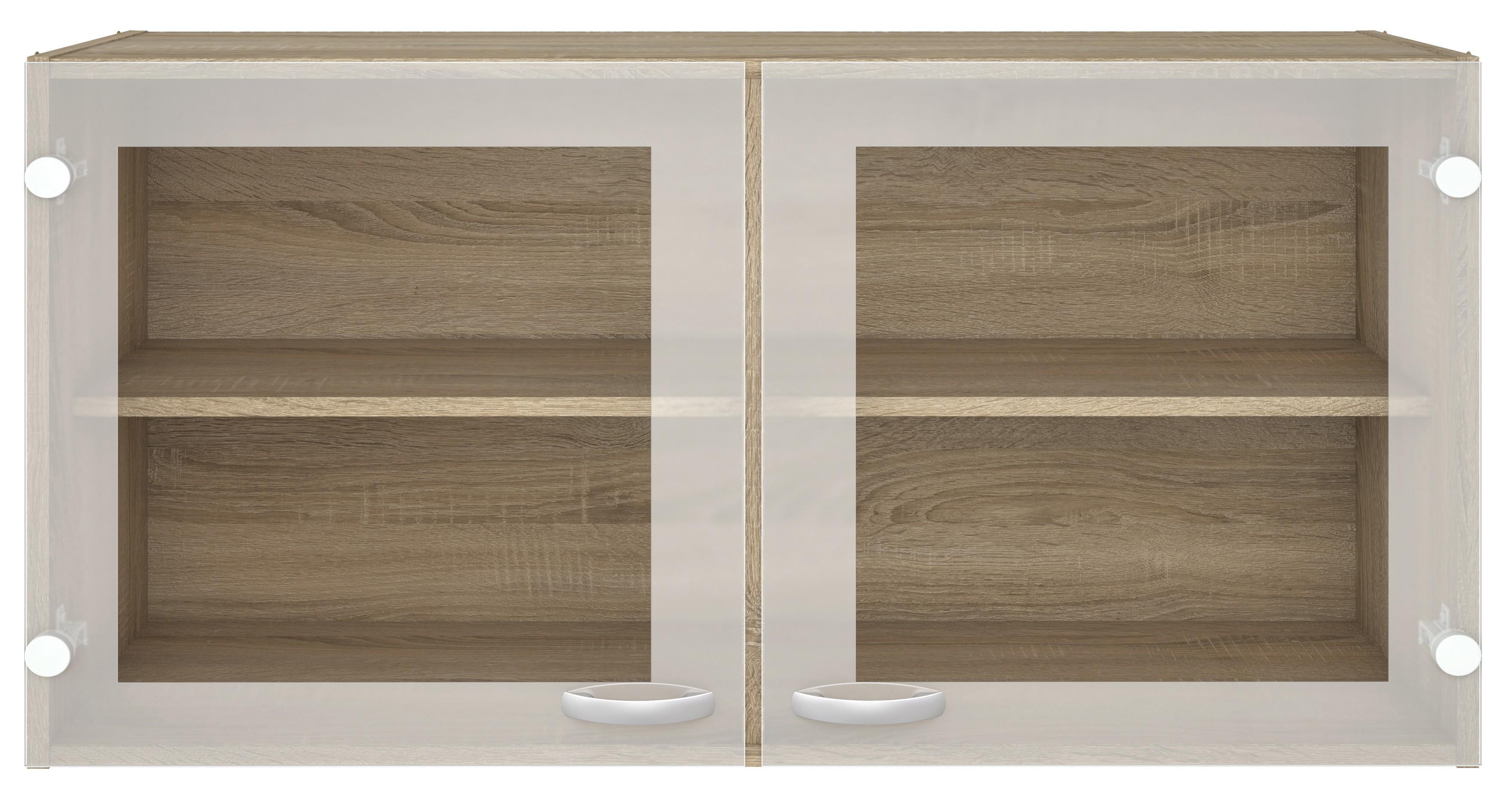 Pensile cucina 2 ante vetro legno finitura quercia cm 98x34x54h ...