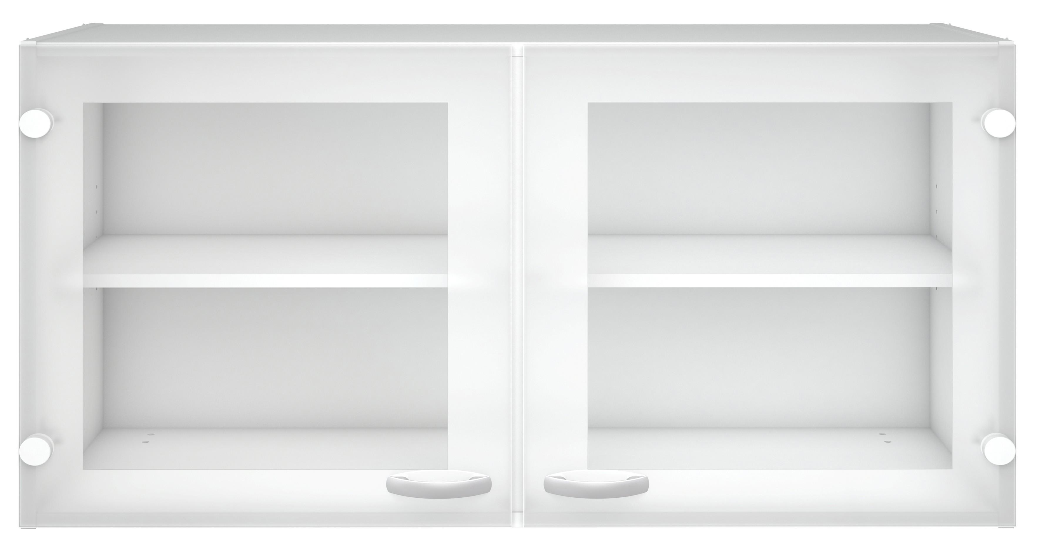 Pensile cucina 2 ante vetro legno finitura bianca cm - Ante in vetro cucina ...