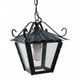 Lanterna con catena Mod. Antico in ferro battuto nero anticato con protezione in vetro per lampada da 60 W - casa giardino