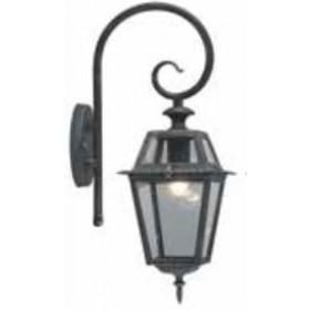 Lanterna con braccio Serie Milano in alluminio verniciato grigio ghisa con protezione in vetro per lampada da 60 W - casa giardino