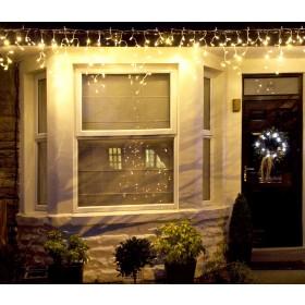 Cascata luminosa Flash 210 luci LED bianco cm. 300x100 prolungabile per uso interno ed esterno - luci albero decori Natale