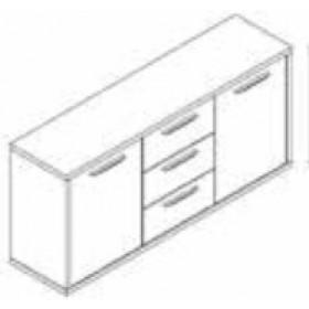 Mobile per ufficio 2 ante e 3 cassetti Composad rovere tartufo e laccato bianco lucido cm. 40x160x75h Linea Disegno - arredo casa libreria