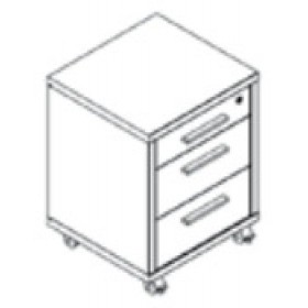Cassettiera 3 cassetti Composad rovere tartufo e laccato bianco lucido con ruote cm. 60x91.5x74.5h Linea Disegno - arredo casa ufficio