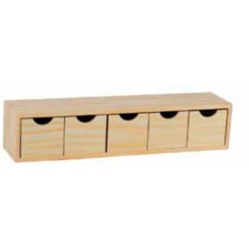 Cassettiera 5 cassetti in legno di pino Mod. Mini cm. 56x13x12h - arredo casa