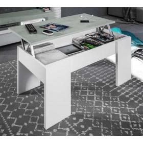 Tavolo da caffè bianco/cemento elevabile con contenitore cm 100x50x45/56h