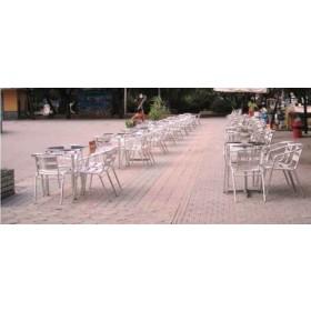 Tavolo tondo Serie Club in alluminio con piano in acciaio inox ø cm. 60x70h - arredo casa giardino balcone