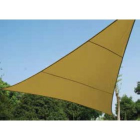 Vela ombreggiante triangolare ecrù in poliestere cm. 500x500x500 - arredo casa giardino ombrellone gazebo