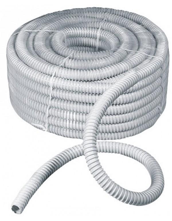 Guaina spiralata flessibile grigia in PVC rotolo 30 m ø 25 mm