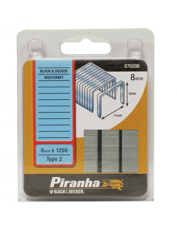 Graffette 8 mm PIRANHA 1200 pz graffatrice sparapunti - Mod. X70208