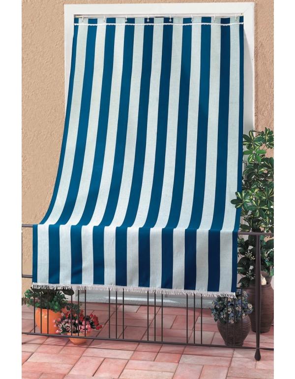 Tenda da sole sormonto cotone poliestere cm 140x300h blu rigato
