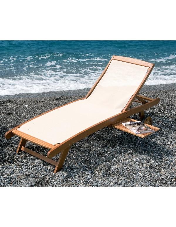 Lettino prendisole con tavoletta portabicchieri Mod. Textile in legno balau finitura ad olio - arredo casa giardino piscina