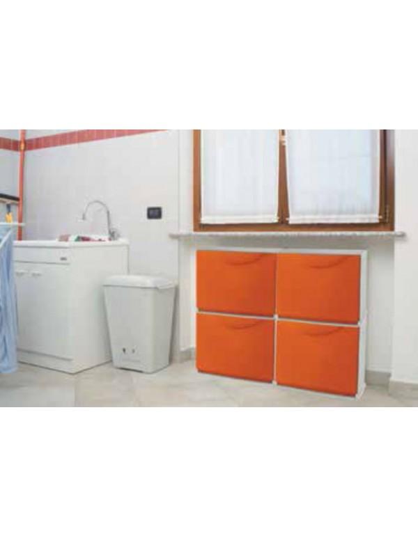 Scarpiera modulare in abs antiurto arancione cm 51x19x39h for Scarpiera arredo