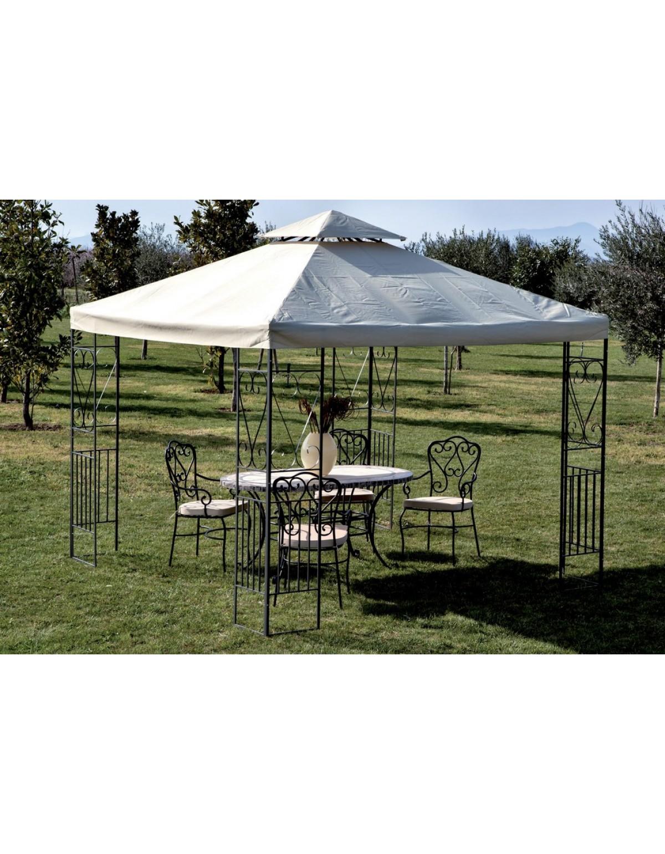Foto Giardini Con Gazebo.Gazebo M 3x3 Con Pannelli Decorati Struttura In Acciaio Arredo Casa Giardino