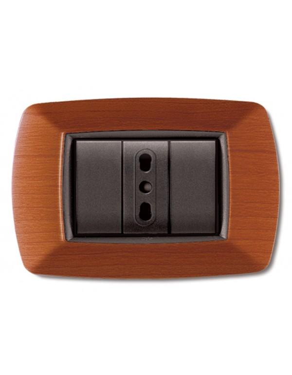Placca 7 posti ELETTROCANALI coprinterruttore legno chiaro serie MY LIFE