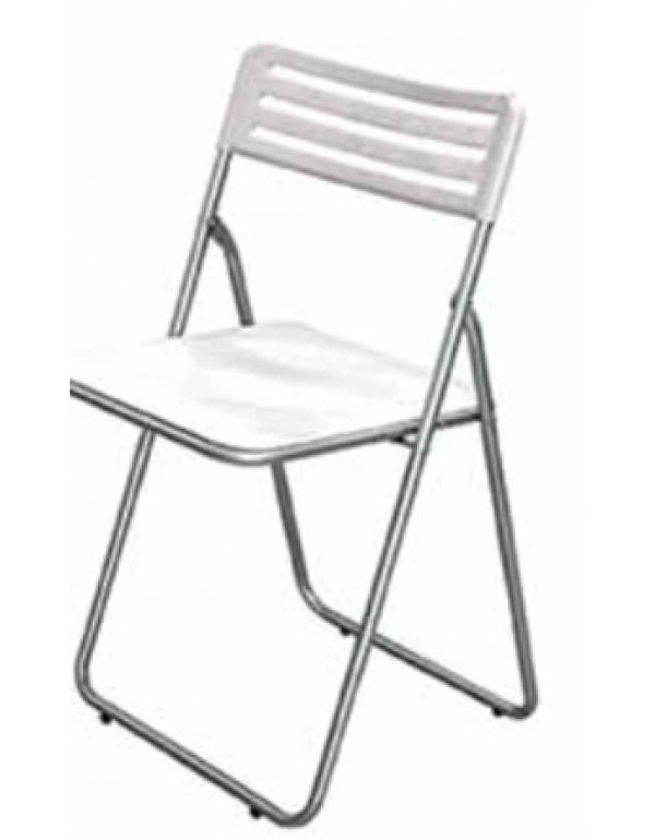 Sedia pieghevole in acciaio seduta colore bianco in abs for Sedie arredo casa