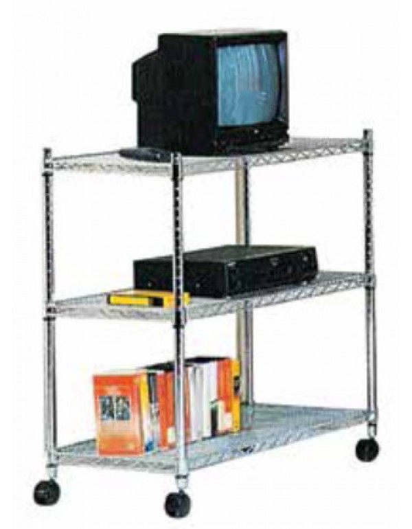 Scaffale multiuso 3 ripiani in acciaio cromato Serie America cm. 36x61x83h - arredo casa ufficio dispensa