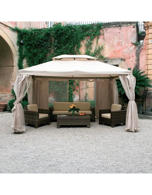 Gazebo Sahara m. 3x4 struttura in alluminio completo di teli laterali e zanzariera - arredo casa giardino