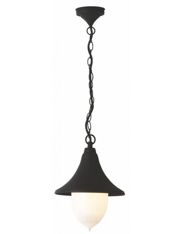 Lanterna con catena Serie Parigi in alluminio verniciato nero per lampada da 100 W - casa giardino