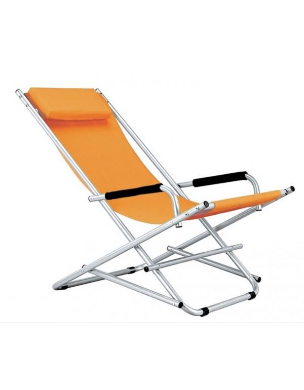 Sedia a sdraio pieghevole serie Katia struttura in accaio colore arancione - arredo giardino mare balcone