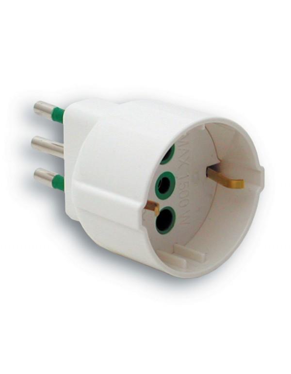 Adattatore semplice FME da 10A 2P+T a schuko alta resistenza Art 87.120