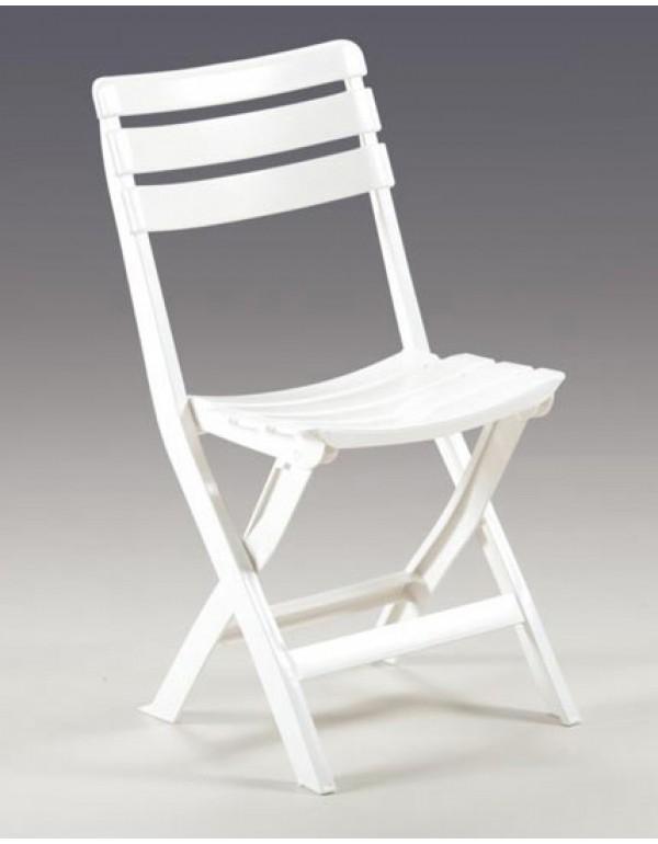 Sedie pieghevoli colore bianco in plastica antiurto cm. 49x42x78h - arredo casa giardino balcone