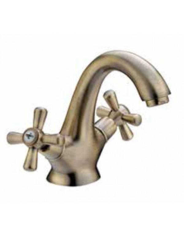 Miscelatore lavabo a croce in ottone bronzato con scarico automatico - Serie Sofia