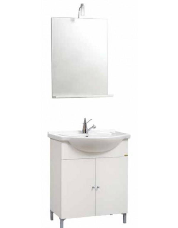 Mobile bagno bianco completo di specchio con mensola e lavabo serie ...