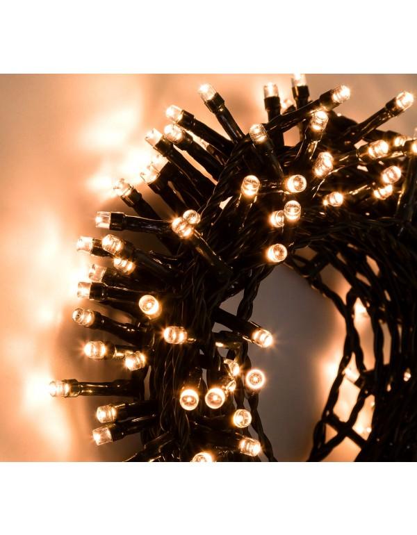 Catena luminosa 180 luci LED bianco caldo con controller e 8 giochi di luce per uso interno ed esterno - luci albero decori Natale