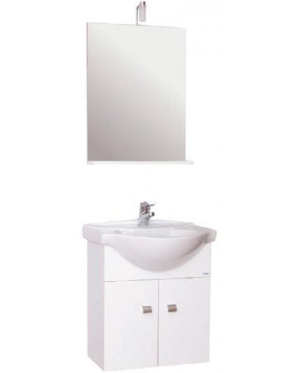 Mobile bagno bianco sospeso completo di specchio e lavabo serie ...