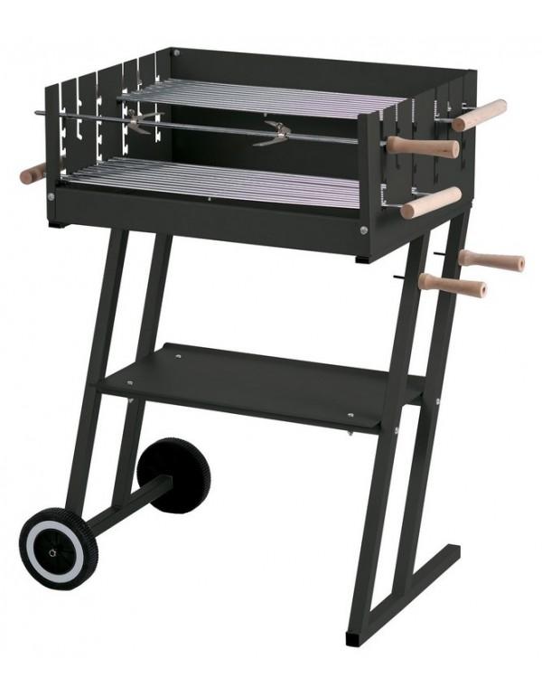 Barbecue a Carbonella Mod. Steakhouse struttura in acciaio ripiano portaoggetti completo di ruote - arredo casa giardino