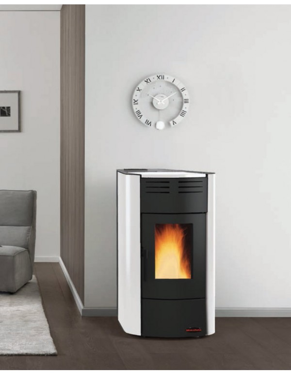Termostufa a pellet Nordica Mod. Raffaella stufa bianca 5.3-18.8 kW 540 m³ - riscaldamento casa arredo interni