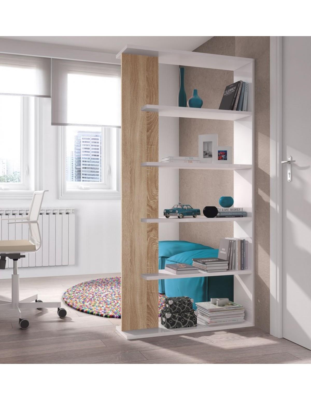 Libreria Moderna Bianca.Libreria Moderna Bianco Rovere 4 Ripiani Cm 90x25x180h Mod Alida