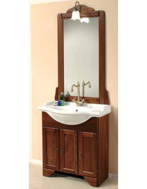 Mobile bagno in legno finitura arte povera con specchio e lavabo serie Doria cm. 75x49x196 - arredo casa