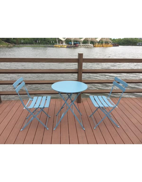 Set bistrò tavolino e 2 sedie in acciaio verniciato azzurro Mod GIOTTO