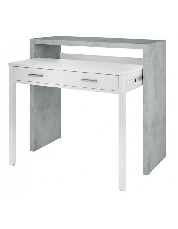 Scrivania consolle con tavolo estensibile colore bianco/cemento cm 36x99x88h