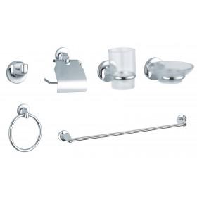 Serie bagno set completo da 6 pz. in metallo cromato e vetro satinato - Mod. TONDO