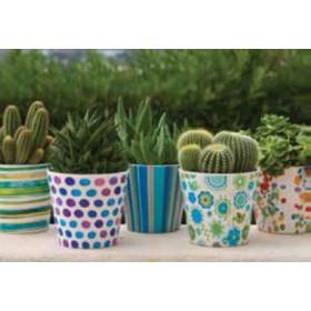 Vasetto in ceramica smaltata con decori assortiti ø cm. 14x12.5h - fioriera casa giardino