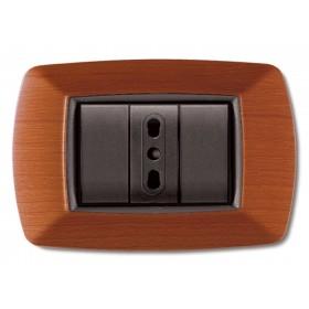 Placca 3 posti ELETTROCANALI coprinterruttore legno chiaro serie MY LIFE