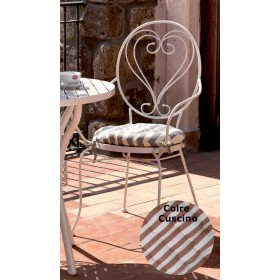 Poltrona con cuscino Mod. Naomi in ferro battuto ø cm. 53x99h - arredo casa giardino