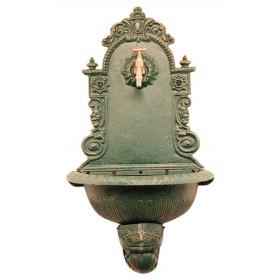 Fontana in ghisa a parete bronzo anticato - arredo giardino casa