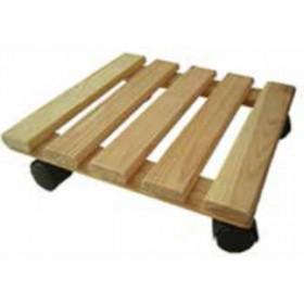 Carrellino portatutto in legno di pino con ruote Serie Natura cm. 35x35 - arredo casa